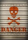 Placa de aço com símbolo do perigo. Foto de Stock Royalty Free