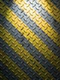 Placa de aço do assoalho e linha amarela Imagens de Stock Royalty Free