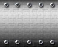 Placa de acero del metall con los tornillos