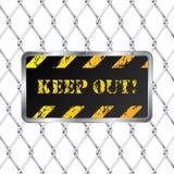 Placa de advertência com cerca prendida ilustração do vetor