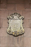 Placa de arzobispo Palace de Lima Foto de archivo