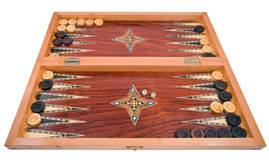 Placa de backgammon handmade de madeira isolada no branco Foto de Stock Royalty Free