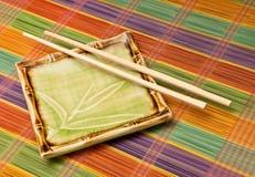 Placa de bambu japonesa imagem de stock