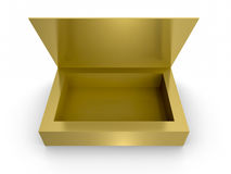 Placa de caixa de presente aberta dourada no fundo branco Fotos de Stock Royalty Free