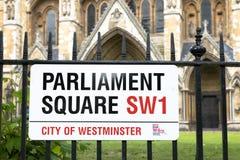Placa de calle cuadrada del parlamento Fotos de archivo libres de regalías