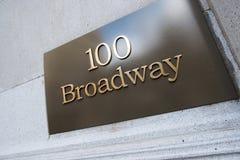 Placa de calle de Broadway en Nueva York Foto de archivo libre de regalías