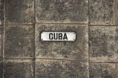 Placa de calle de Cuba fotos de archivo
