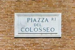 Placa de calle de Del Colosse de la plaza Fotografía de archivo