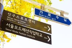 Placa de calle de Garosugil, Seul, República de Corea Fotografía de archivo