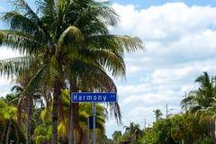 Placa de calle de Harmony Lane Imágenes de archivo libres de regalías