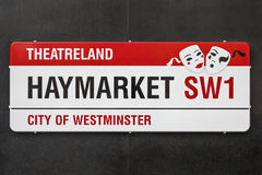 Placa de calle de Haymarket en Londres Imagen de archivo libre de regalías