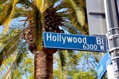 Placa de calle de Hollywood Boulevard Fotografía de archivo