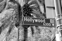 Placa de calle de Hollywood Boulevard Imágenes de archivo libres de regalías