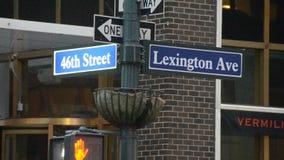 Placa de calle de la avenida de Lexington almacen de video