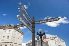 Placa de calle de la ciudad de Quebec Imagenes de archivo