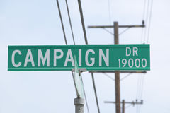 Placa de calle de la impulsión de la campaña, colinas de CSU- Domínguez, Los Ángeles, CA Fotografía de archivo