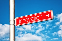 Placa de calle de la innovación Fotos de archivo