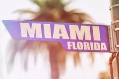 Placa de calle de Miami la Florida Imágenes de archivo libres de regalías