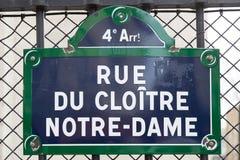 Placa de calle de París Fotos de archivo libres de regalías