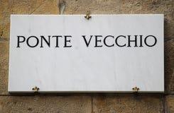 Placa de calle de Ponte Vecchio Imagen de archivo libre de regalías