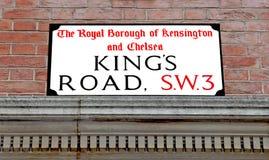 Placa de calle de reyes Road Fotos de archivo libres de regalías