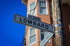 Placa de calle del lombardo en San Francisco Imagen de archivo libre de regalías