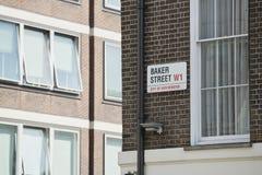 Placa de calle del panadero Imagenes de archivo
