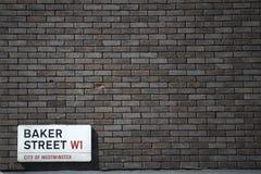 Placa de calle del panadero Fotos de archivo