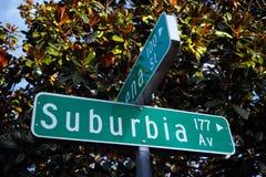 Placa de calle del sistema de pesos americano de los barrios residenciales periféricos Fotos de archivo