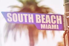 Placa de calle del sur de Miami de la playa Imagen de archivo
