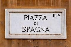 Placa de calle de di spagna Roma de la plaza Fotos de archivo libres de regalías