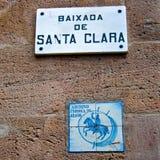 Placa de calle en Barcelona, Cataluña Imagenes de archivo