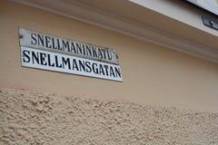 Placa de calle en Helsinki, Finlandia imagen de archivo libre de regalías