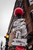 Placa de calle italiana - Boston, mA imagenes de archivo
