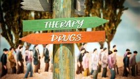 Placa de calle a la terapia contra las drogas imagen de archivo