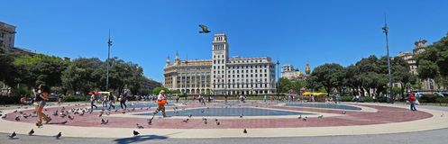 Placa de Catalunya Catalonia Square. Barcelona. Plaça de Catalunya is a large square in central Barcelona that is generally considered to be both its city royalty free stock photography