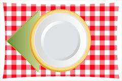 Placa de cena con la servilleta de tabla ilustración del vector