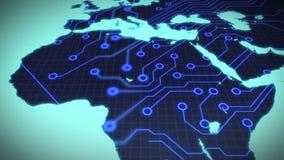 Placa de circuito África en fondo azul libre illustration