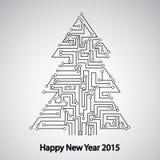 Placa de circuito, árbol por el Año Nuevo Fotos de archivo