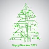 Placa de circuito, árbol por el Año Nuevo Imagen de archivo libre de regalías