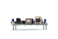 Placa de circuito aislada con el fondo blanco Fotografía de archivo libre de regalías