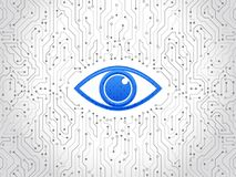 Placa de circuito de alta tecnología abstracta Concepto cibernético de la seguridad del ojo Fotografía de archivo libre de regalías