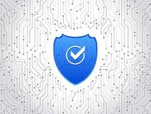 Placa de circuito de alta tecnología abstracta Concepto del escudo de la seguridad Seguridad de Internet Fotografía de archivo