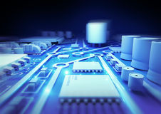 Placa de circuito azul Foto de Stock