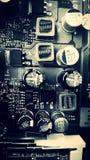 Placa de circuito blanco y negro del ordenador fotografía de archivo libre de regalías