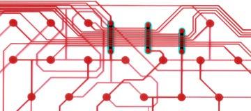 Placa de circuito branca e vermelha Imagens de Stock Royalty Free