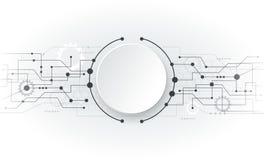 Placa de circuito branca futurista do sumário da ilustração do vetor Imagem de Stock