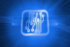 Placa de circuito brillante en fondo azul Foto de archivo libre de regalías