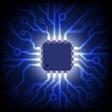 Placa de circuito com microchip. Fundo do vetor. Fotos de Stock Royalty Free
