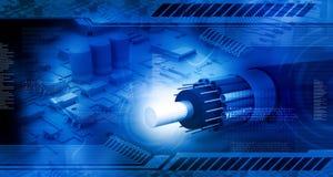 Placa de circuito con el cable óptico de la fibra Imagen de archivo